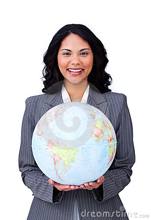 Visionary businesswoman smiling at global business