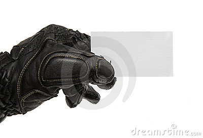 Visit card in man s hand with motorcycle glove