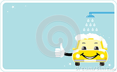 Visiting card with smiling car wash