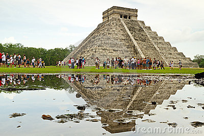 Visiting Kukulkan pyramid in Chichen Itza Editorial Photography