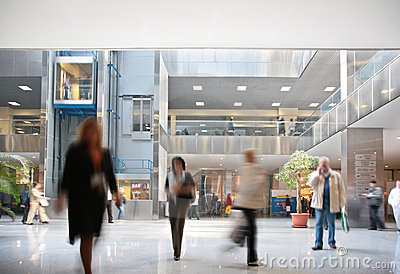 Visitors in business center