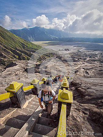 Visitors Climbing Stairs to the Rim of Gunung Bromo Volcano Editorial Stock Photo