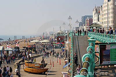 Visitors enjoying the beach at Brighton, UK Editorial Photo