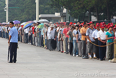 Visitors line up to visit Tiananmen Square Editorial Stock Image