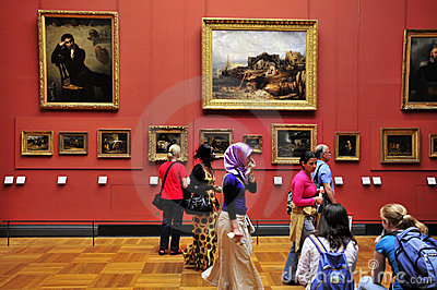 Visitors at the Louvre Editorial Stock Image