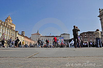 Visitors and pilgrims in the Castle square, Turin. Editorial Photo