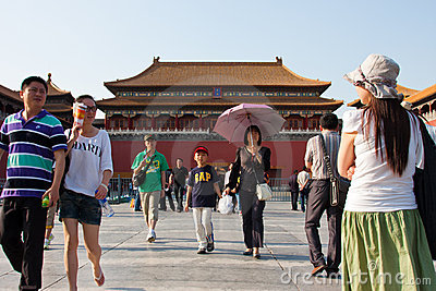 Visitors travel in forbidden city Editorial Stock Image