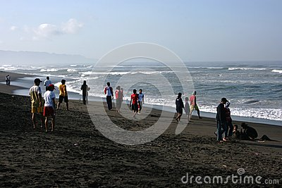 visitors traveled in Depok beach Editorial Photography
