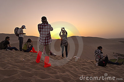 Visitors watch sunset Editorial Stock Image