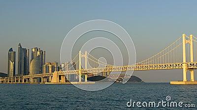 A vista à ponte de Gwangan na cidade de Busan, Coreia do Sul no por do sol ilumina-se vídeos de arquivo