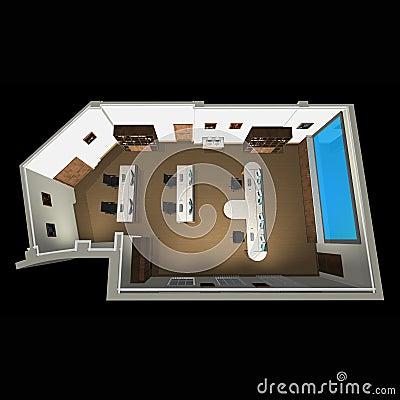 Vista 3d sulla disposizione della stanza dell 39 ufficio for Design stanza ufficio