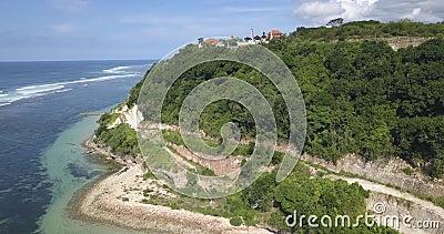 Vista aérea da praia de Nusa Dua, Templo de cima vídeos de arquivo