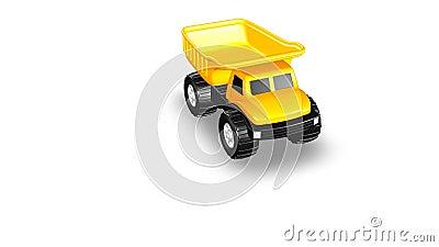 Vista aérea de 3D amarelo Toy Dump Truck ilustração do vetor