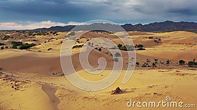 Vista aérea de dunas Bayan Gobi na Mongólia filme