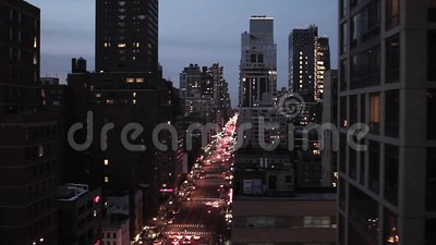 Vista aérea de New York City na noite