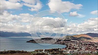 Vista aérea de Ohrid, Macedonia metrajes