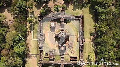 Vista aérea del parque histórico Phanom Rung en Buriram, Tailandia almacen de metraje de vídeo