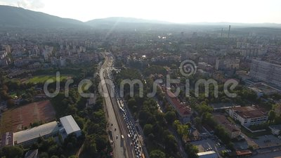 Vista aérea do bulevar Bulgária do doce de Sofia Bulgaria Eastern Europe Traffic vídeos de arquivo