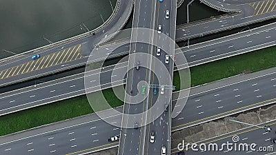 Vista aérea do carro na autoestrada Bangkok Tailândia video estoque