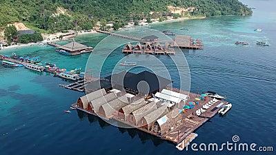Vista aérea en la isla Tegal Mas, bandar Lampung metrajes