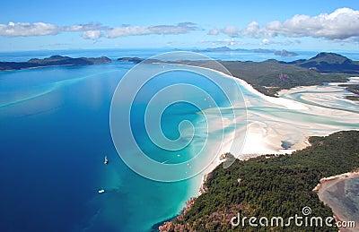 Vista aérea da praia de Whitehaven