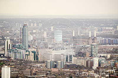 Vista aérea de Lambeth e de Battersea