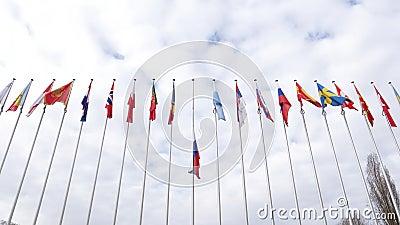 Vista da sotto del mezz'asta d'ondeggiamento della bandiera di Federazione Russa archivi video