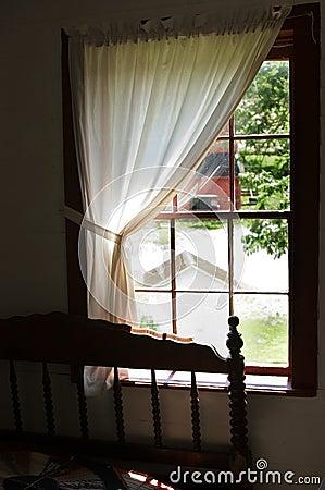 Vista da una finestra della camera da letto dei Amish