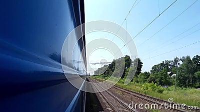 Vista dal paesaggio della finestra del treno vicino a Leopoli Ucraina archivi video