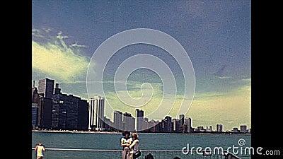 Vista de Chicago dos anos 70 video estoque