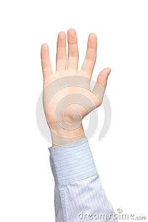 Vista de una mano levantada