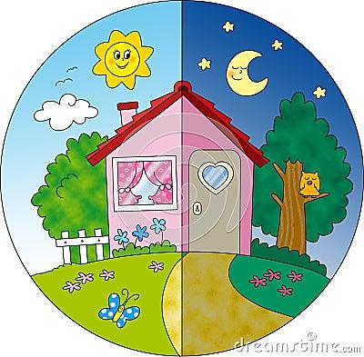 Vista della casa di campagna di notte e di giorno in for Programma di disegno della casa libera