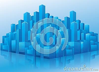 Vista di prospettiva degli edifici per uffici blu di affari