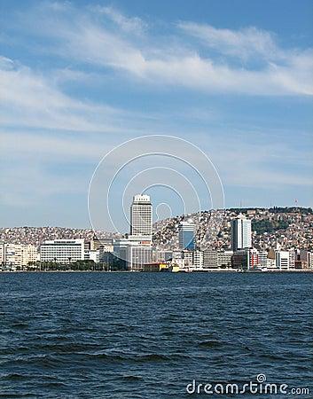 Vista em Izmir da baixa