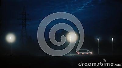Vista incredibile della strada principale occupata di notte con i camion Colpo cinematografico misterioso sbalorditivo Automobili stock footage