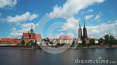 Vista panorâmica de Wroclaw com rio de Odra poland filme