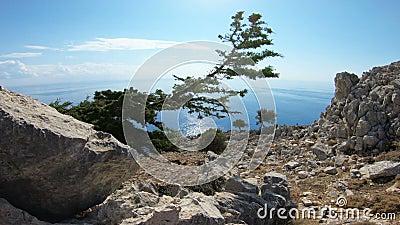 Vista pitoresca da costa mediterrânea da ilha do Rodes com rochas e praias Greece filme