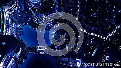 Vista superior de la alameda de Dubai de la noche metrajes