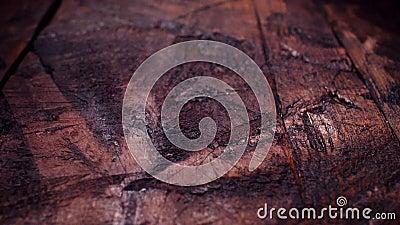 Vista superiore del fondo di legno rustico della tavola Metraggio di riserva Fondo noir del bordo di legno del nero di eleganza S stock footage