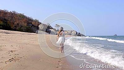 Vista trasera de una mujer con el pelo largo caminando sola a orillas del mar almacen de metraje de vídeo