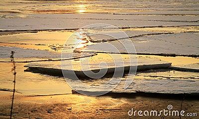 Vistula river in Poland - sunset.