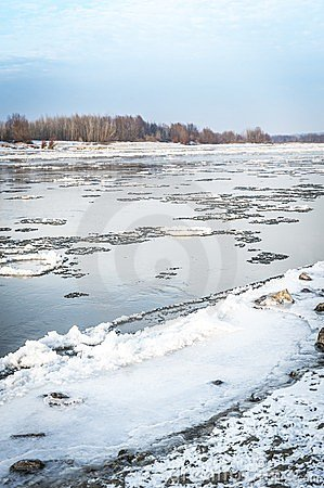 Vistula river in winter time