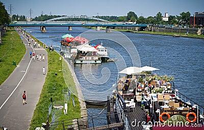 Vistula/Wisla river promenade, Krakow, Poland Editorial Photography