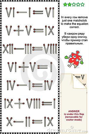 Visual math puzzle with roman numerals
