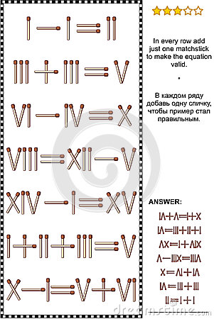 Free Visual Math Puzzle With Roman Numerals And Matchsticks Royalty Free Stock Photos - 88981158