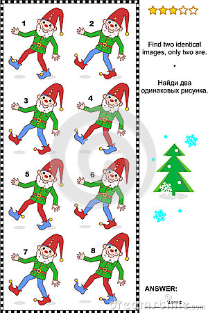 Free Visual Puzzle - Find Two Identical Images Of Gnomes Royalty Free Stock Image - 41682066