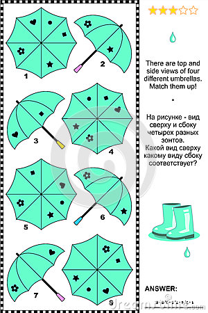 Free Visual Puzzle With Top And Side Views Of Umbrellas Stock Photography - 40969872