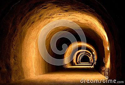 Visually dynamic tunnel construction Stock Photo