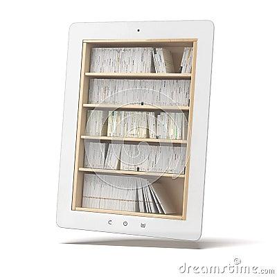Vit minnestavla med bokhyllan