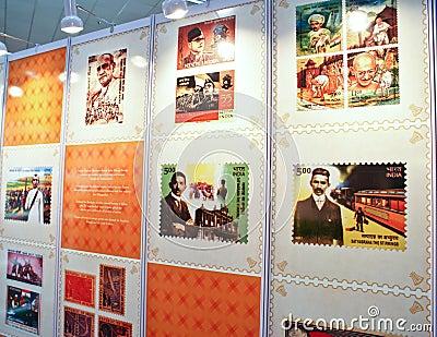 Vita del Mahatma Gandhi commemorata sui bolli Fotografia Editoriale